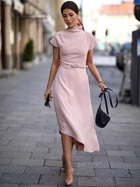 Half-Collar Irregular Simple Slim Skater Dress(Without Belt), Asymmetrical Dresses, Elasticity, Empire, High Neck, L, M, Mid-Calf, Other, Pink, Polyester, S, Short Sleeve, Solid, Spring, Work, XL