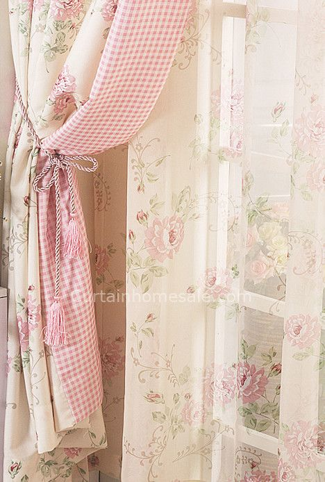 Beautiful Printed Floral Curtain In Pink And Beige Color Poly Cotton Blend Fabric Shabby Chic Curtains Shabby Chic Room Shabby Chic Pink