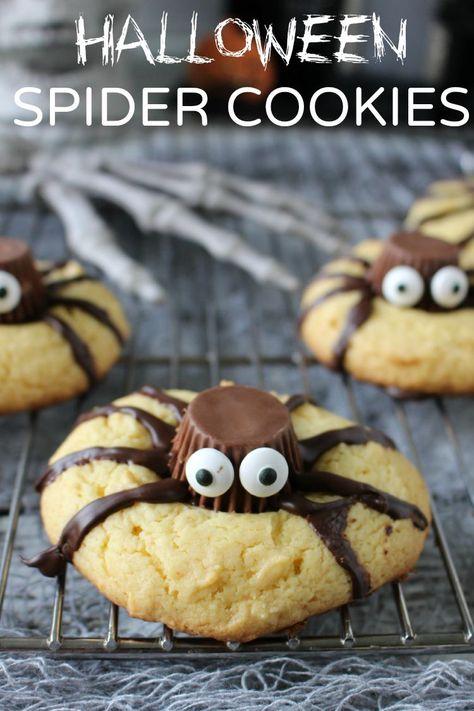 Halloween Spider Cookies - super easy Halloween dessert and treat!