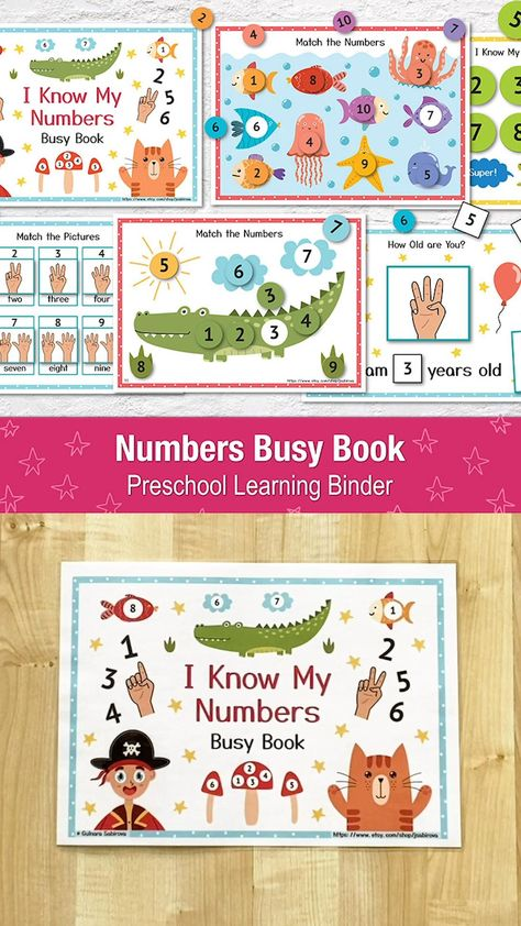 Numbers Busy Book for Toddlers PDF, Toddler Busy Book, Printable Activity Book, Learning Folder