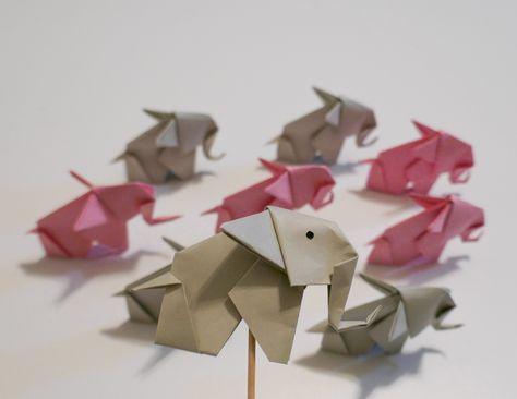 Origami Elephant Cupcake Toppers   food pick   Decoration Picks    Bridal Shower Party Picks by KindFoxCrafts on Etsy