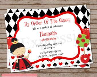 Queen Of Hearts Party Alice In Wonderland Printable Customized Invitation Cutie Putti Paperie 15 50 Via Etsy Lana S First Invitaciones
