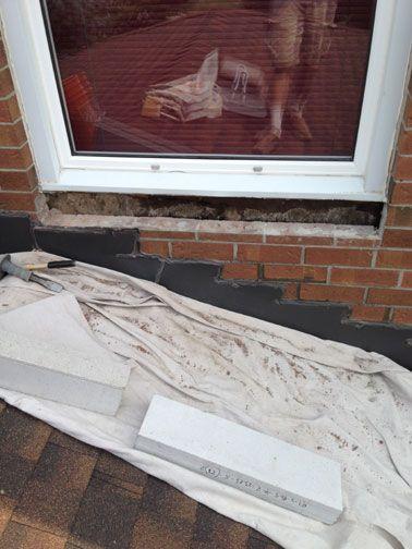 Brick To Stone Window Sill Replacement Ottawa Case Study Rocked Window Sill Limestone Sill Masonry Techniques In 2020 Window Sill Replacement Window Sill Masonry