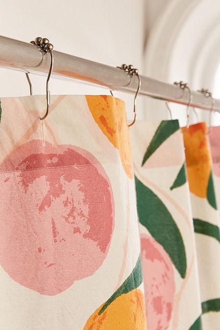 Allover Fruits Shower Curtain Peach Bathroom Peach Shower