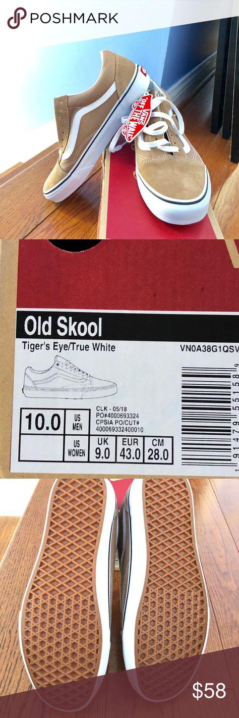 VANS OLD SKOOL TIGERS EYE TRUE WHITE SIZE 10 NWT