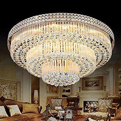 Kalri Modern K9 Crystal Chandelier Flush Mount Led Ceiling Light