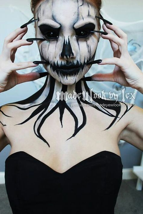 Evil Pumpkin Queen makeup Ideas, and goes great with All Black Sclera Contacts for the ultimate monstrous & demonic look => http://www.pinterest.com/pin/350717889705707881/