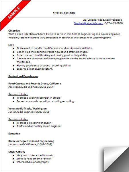 Live Sound Engineer Resume Resume Template Engineering Resume Resume Examples Good Resume Examples