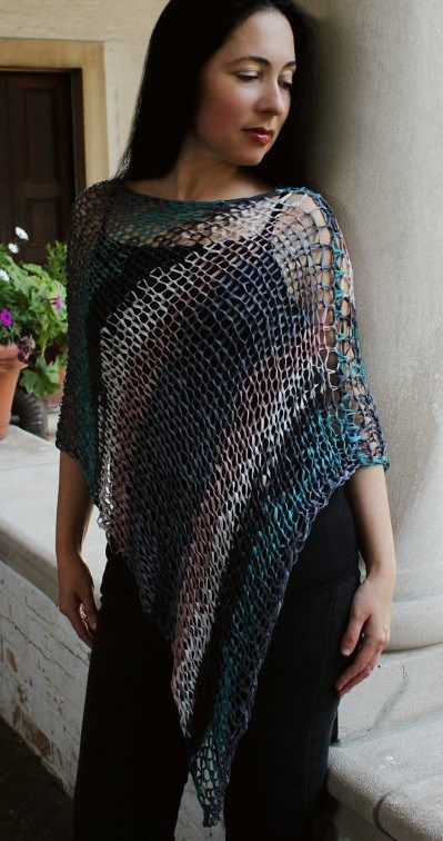 Free Knitting Pattern For Easy 4 Row Repeat Ridged Wrap Poncho Easy
