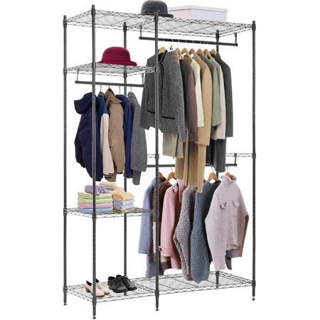Hanging Closet Organizer And Storage Heavy Duty Clothes Rack Sturdy 3 Rod Garment Rack Large With Wire Shelving Height Adjustable Commercial Grade Metal Clothes Heavy Duty Clothes Rack Clothes Rack Closet