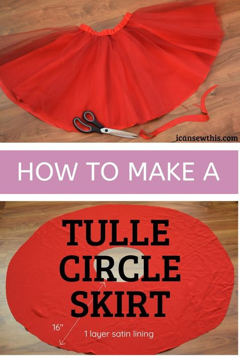 How to make DIY tulle circle skirt with elastic waistband. Learn to sew a super fun tulle skirt for girls that will look gorgeous at any party. Diy Circle Skirt, Diy Tulle Skirt, Circle Skirt Pattern, Circle Skirt Tutorial, Tulle Skirt Tutorial, Tutu Skirts, Circle Skirts, Tutu Dresses, Tulle Tutu