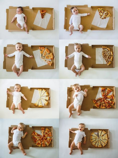This Mom Documented Her Baby's First 12 Months Using Pizza Slices, and It's a Carb-Lover's Dream recipes for kids Monthly Baby Photos, Baby Monthly Milestones, Newborn Baby Photos, Baby Milestone Chart, Baby Pizza, Pizza Pizza, 6 Month Baby Picture Ideas, Baby Boy Pictures, Foto Baby