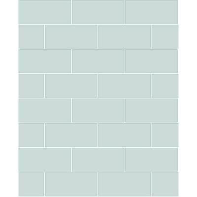 MANHATTAN COMFORT INC Schusterman, Galley Light Blue Subway Tile Paper Strippable Wallpaper Roll (Covers 56.4 sq. ft.)