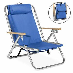 Bcp Folding Seat Backpack Chair W Padded Headrest Cup Holder Blue Backpacking Chair Backpack Beach Chair Beach Chairs Portable