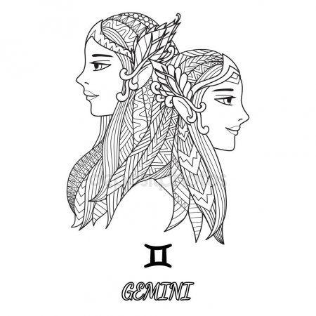 Línea Arte Diseño Del Signo Del Zodiaco Géminis Para Elemento De Diseño Y El Tatuaje De Constelación De Tauro Signos Del Zodiaco Tatuaje De Constelación Virgo