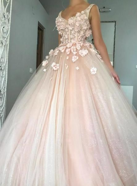 Cute Handmade Flowers And Shimmery Glitter Wedding Gowns Prom Dresses Ball Gown Pink Ball Gown Ball Gown Wedding Dress
