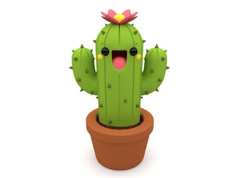 Smiling 3d Cactus Character With A Pink Flower Inside A Flowerpot On An Isolated White Bac
