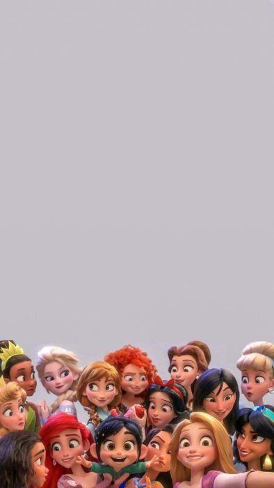 Fondo de pantalla para celular de Disney; wallpaper de princesas en la película Ralph Rompe Internet; Vanellope, Tiana, Elsa, Aurora, Moana, Ariel, Anna, Mérida, Bella, Blancanieves, Pocahontas, Mulan, Cenicienta, Rapunzel y Jazmín
