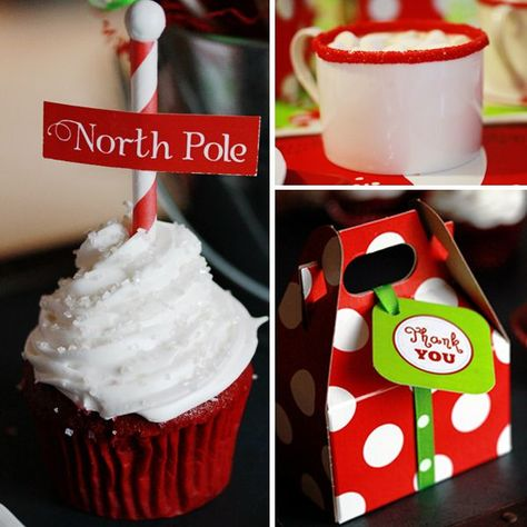 Holly Jolly Christmas Party via www.karaspartyideas.com. There's those darling north pole cupcakes again! Love them.