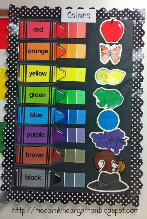 Modern Kindergarten: Classroom Decorations...like the idea of using paint chips to show the variations of each color