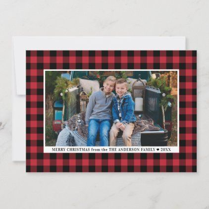Merry Christmas Red Buffalo Plaid Photo Holiday Card Zazzle Com In 2020 Holiday Photo Cards Holiday Cards Red Christmas