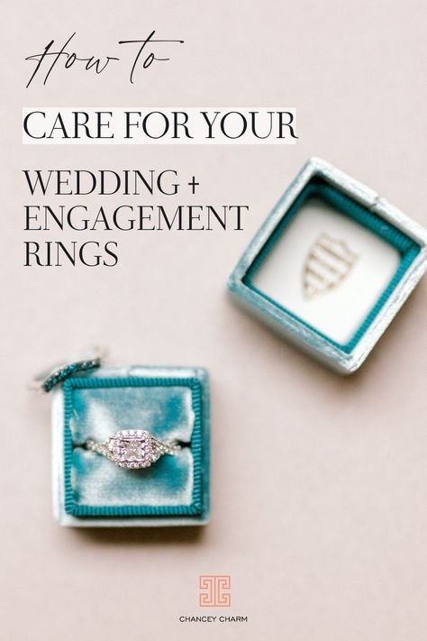 Whether you're newly engaged or a newlywed, you'll want to make sure your rock(s) are well cared for. Learn the steps to clean your wedding and engagement rings at home. We're also listing the do's and don't of ring care so you can know the ins and outs of keeping your ring sparkling. #weddingringcare #engagementringcare