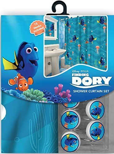 All New Fabric Shower Curtain Set Disney With 12 Matching Hooks Finding Dory Check This Incr Disney Finding Nemo Shower Curtain Sets Fabric Shower Curtains