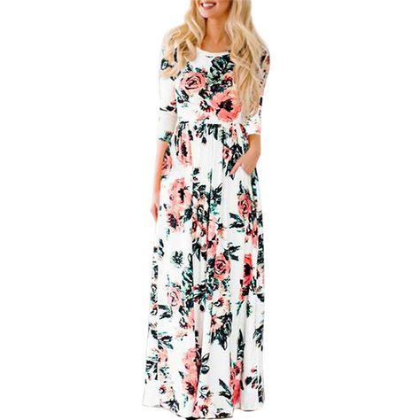 6c58c6b63 2019 Verão Vestido Longo Floral Imprimir Boho Vestido de Praia Túnica Maxi  Vestido de Festa de Noite Das Mulheres Vestido Vestido de Verão Vestidos de  festa ...