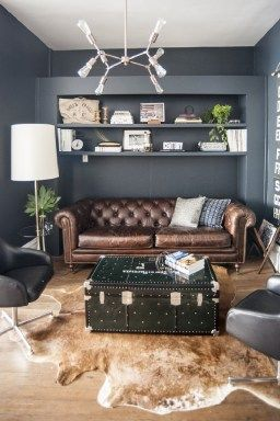 Best Dark Brown Leather Couch Ideas And Pictures 38 Simple Office Decor Home Office Decor Male Office Decor