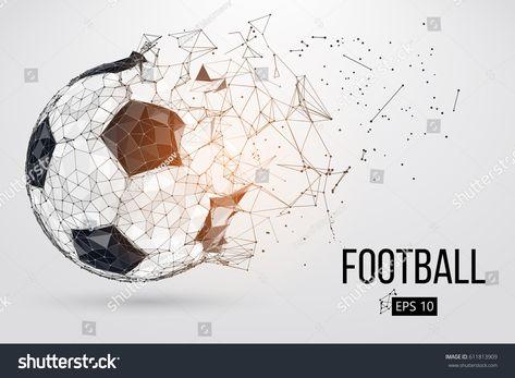 Стоковая векторная графика «Силуэт футбольного мяча. Точки, линии, треугольники,» (без лицензионных платежей), 611813909