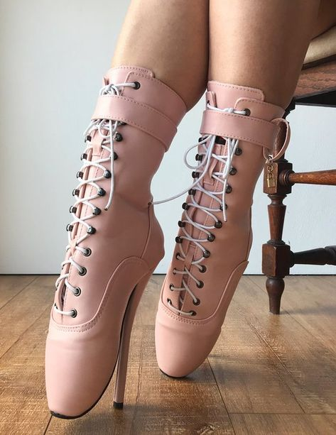 00b74113f8c RTBU JESSICA Lace Up Strap Knee Hi Ballet Stiletto Fetish Pain Boots ...