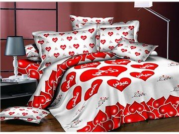 Romantic Red Heart Shaped Printing Polyester 4 Piece Duvet Cover Sets Duvet Cover Sets Bed Sets For Sale Duvet Covers