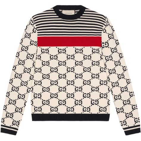 Gucci Gg Intarsia Cotton Sweater ($1,235) ❤ liked on Polyvore featuring men's fashion, men's clothing, men's sweaters, cotton, men, new knitwear, ready-to-wear, mens cotton crew neck sweaters, mens cotton sweaters and mens striped sweater
