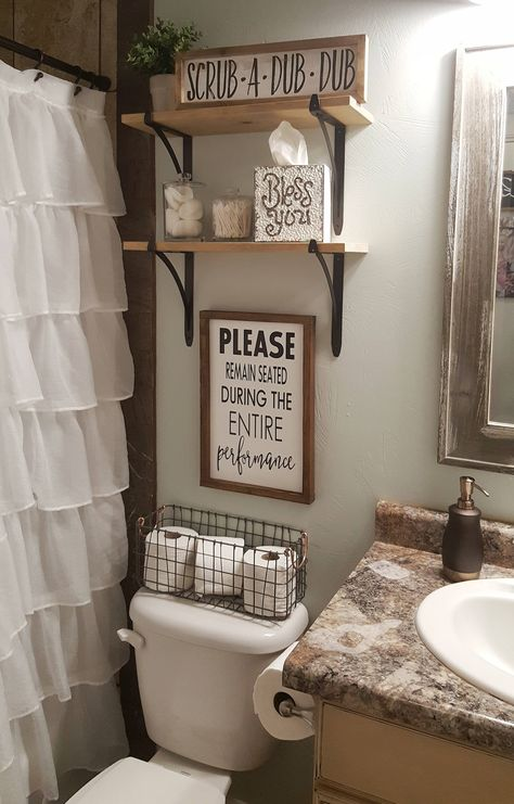 Farmhouse bathroom decorating ideas - cheap farmhouse decor ideas for decorating. IKEA Is Totally Changing Their Kitchen Cabinet System. Please Remain Seated During Entire Performance Wood Signs Bathroom Humor, Bathroom Signs, Bathroom Box, Mason Jar Bathroom, Washroom, Rustic Bathroom Decor, Cute Bathroom Ideas, Girl Bathroom Decor, College Bathroom Decor