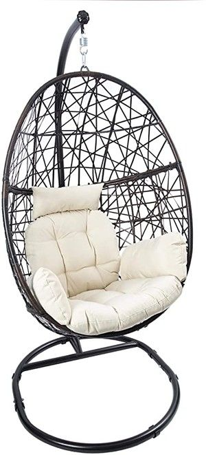 Affordable Patio Decor Ideas In 2021 Hanging Chair With Stand Swing Chair Outdoor Hanging Egg Chair
