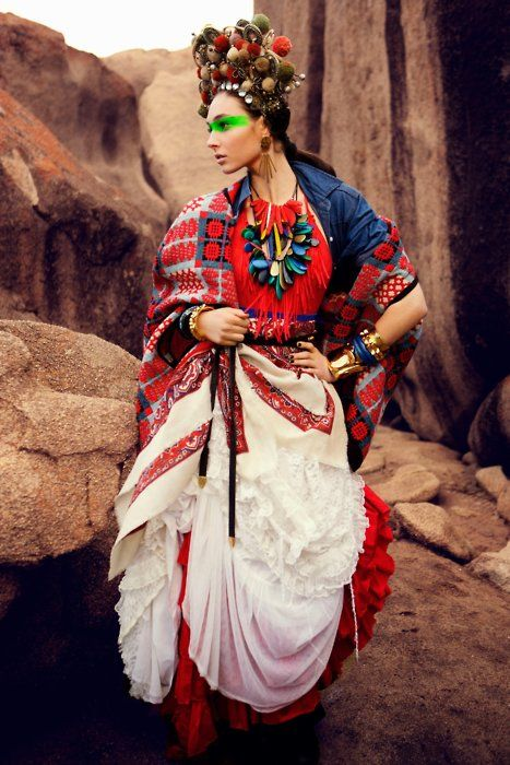 Fashion with a nod to Latin American textiles, Frida Kahlo, and Adam Ant!