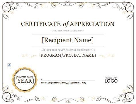 photograph relating to Free Printable Certificates of Appreciation titled Certification of Appreciation 08 Initiatives: Nanny