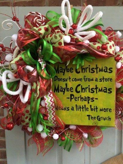 Unique Christmas Wreath Decoration Ideas For Your Front Door 14 Grinch Christmas Decorations Christmas Themes Decorations Christmas Decorations Wreaths