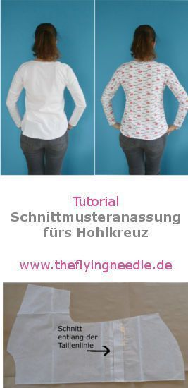 Hohlkreuz-Anpassung für Schnittmuster ohne Taillen- oder Rückennaht ...