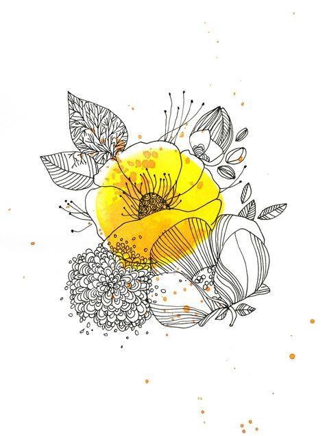 jaune bouton d'or, encre, Cécile Hudrisier