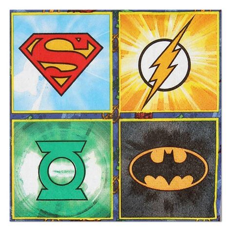 16 Stickers 16 Luncheon Napkins 1 Table Cover and 16 Cups DC Comics Justice League Superheroes Birthday Party Supplies Pack for 16 Guests Perfect for your Superhero Party 16 Dinner Plates