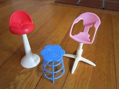 Barbie Furniture High Bar Chairs Vtg Doll Stools Mattel Adjustable 1999 Freeship Affilink Barstool In 2020 Barbie Furniture Diy Dollhouse Furniture Barbie Doll House