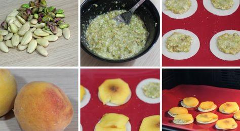 Pastelitos de melocotón, almendras y pistachos