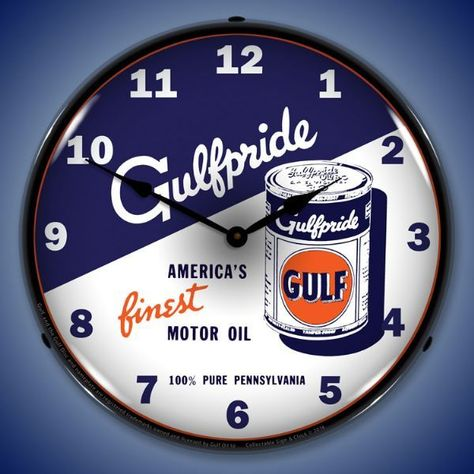 JackandFriends.com - Gulfpride Motor Oil 2 Lighted Wall Clock 14 x 14 Inches, $124.95 (http://www.jackandfriends.com/gulfpride-motor-oil-2-lighted-wall-clock-14-x-14-inches/)