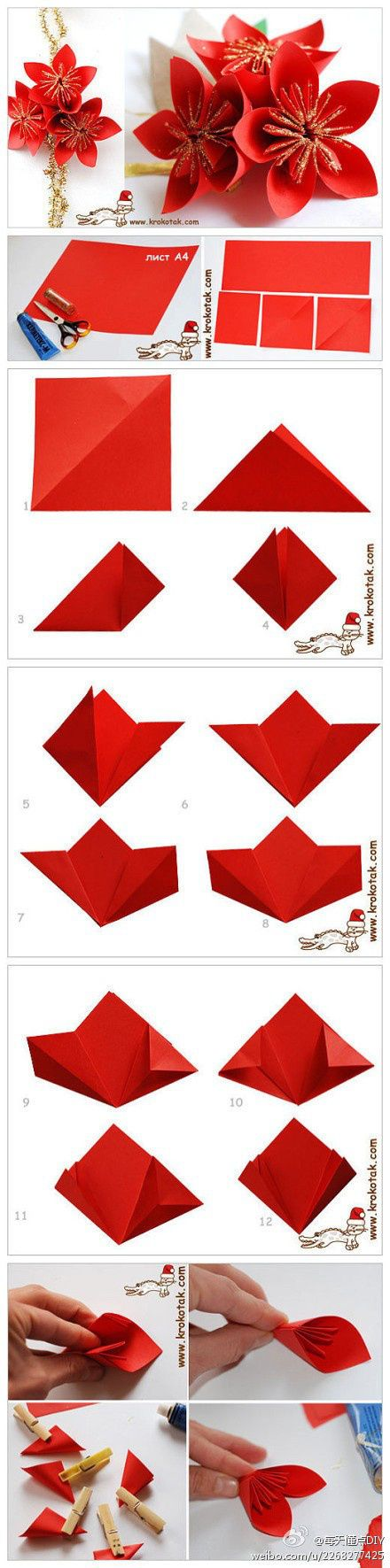 Origami Christmas Flower Instructions Origami Tutorial Lets Make It