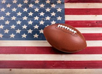 American Football On Rustic Wooden Usa Flag Wooden Usa Flag Super Bowl Football