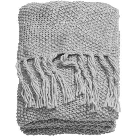 H&M Moss-knit blanket (€47) ❤ liked on Polyvore featuring home, bed & bath, bedding, blankets, fillers, accessories, scarves, light grey, fringe blanket and light gray bedding