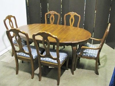 Ethan Allen 034 Country French 034 Dining Table 2 Leaves Amp 6