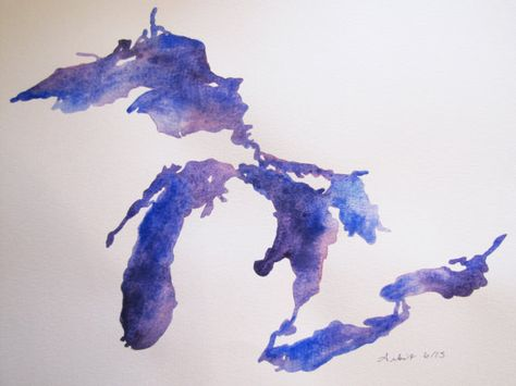 Watercolor painting of Upper & Lower Michigan and The Great Lakes in purple & blue.