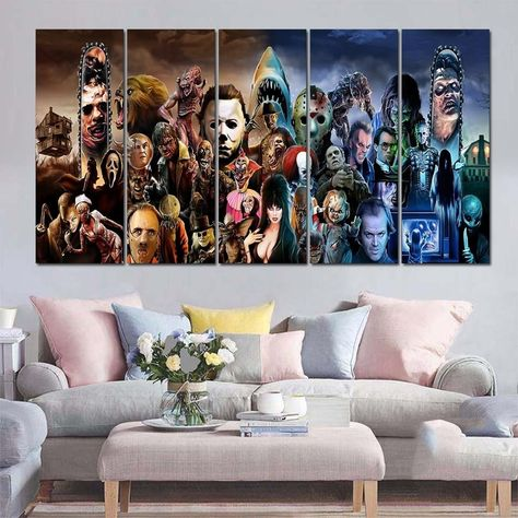 Horror Movie Characters Framed 5 Piece Canvas Wall Art Painting Wallpaper Poster Picture Print Photo - Medium / With framed